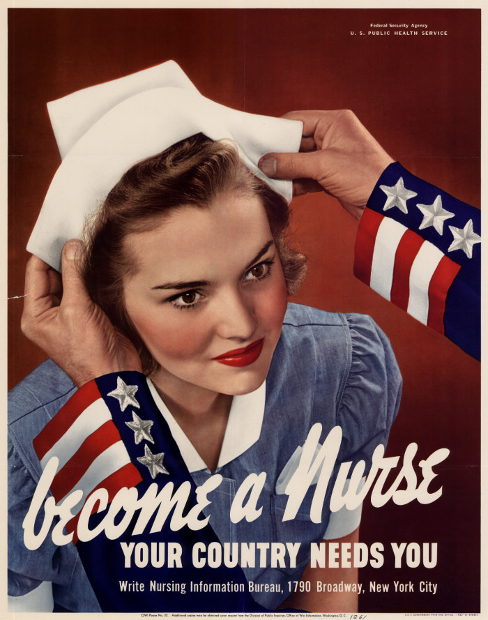 become a nurse poster – WWII propaganda
