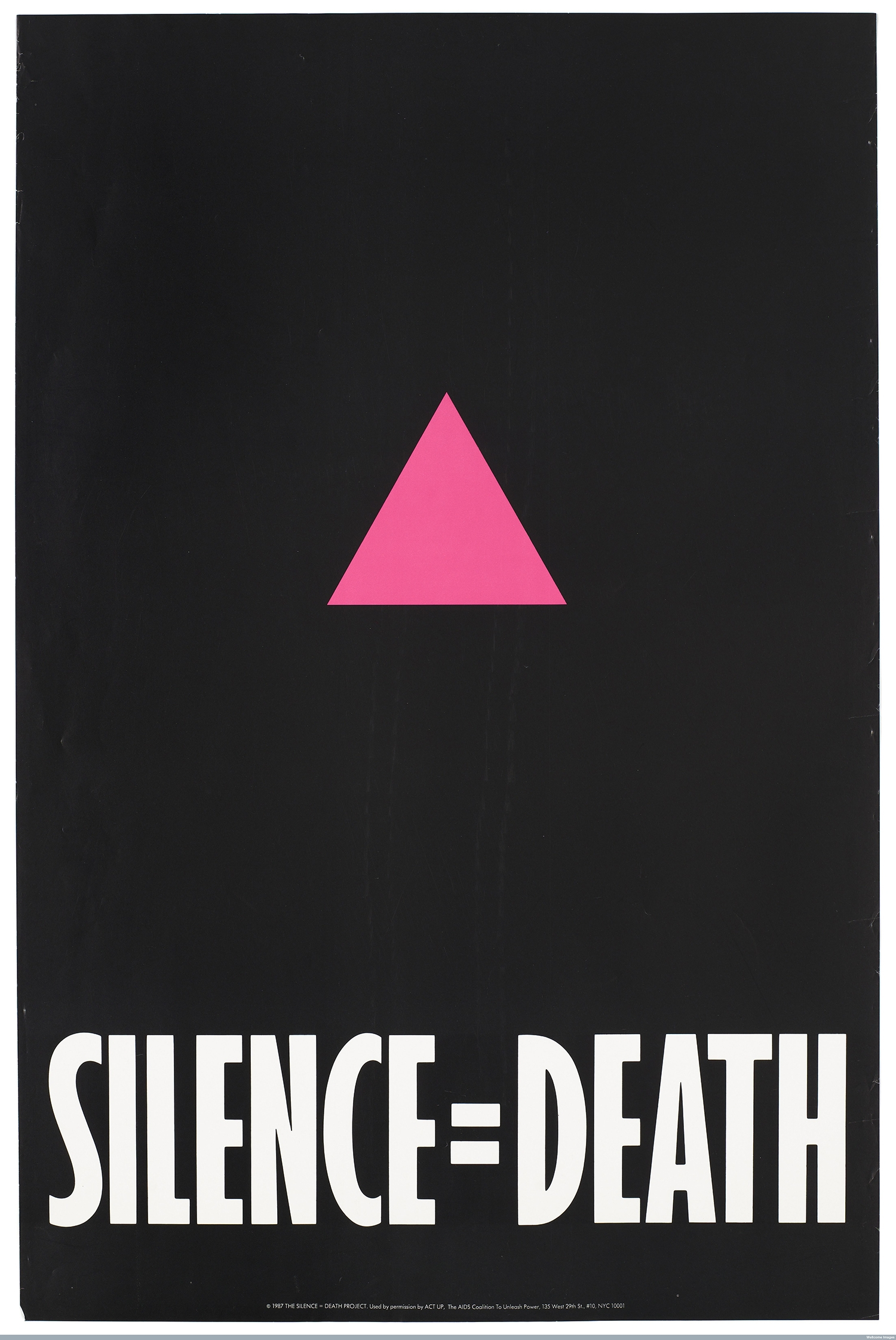 wellcome-a-pink-triangle-against-a-black-backdrop-with-the-words-silence_death-an-advertisement-for-the-silence-_-death-project–1987